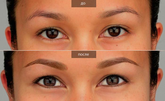 Перманентный макияж век до и после